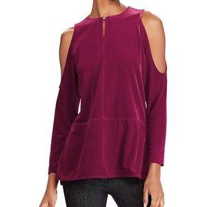 Ralph Lauren Velvet Cold Shoulder Blouse Top
